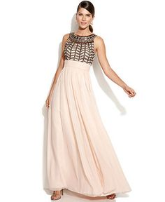 JS Collections Sleeveless Beaded Empire-Waist Gown - Dresses - Women - Macy's