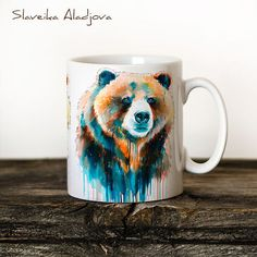 Bear Mug Watercolor Ceramic Mug Unique Gift Coffee Mug by SlaviART