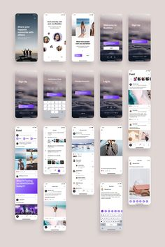 Social App UI Kit Bundle is a pack of 64 delicate Social app UI screen templates and set of UI elements that will help you to design clear interfaces for social networking apps faster and easier. Compatible with Sketch App, Figma & Adobe XD Android App Design, Ios App Design, Interface Design, Login Design, User Interface, Ui Kit, Design Thinking, Ui Design Mobile, Application Mobile