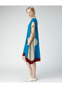 Tsumori Chisato / vestido de lino Colorblocked