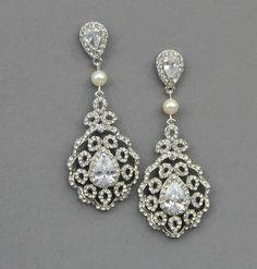 Chandelier Bridal Wedding Earrings Pearl Drop by LavenderByJurgita, $73.00