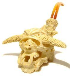 S. Yanik Meerschaum Pipe Giant Demon Skull