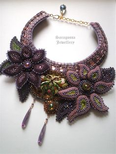 Nymph Bead embroidered necklace with purple by SaragossaJewellery