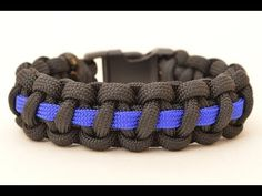 Make a Police Thin Blue Line Paracord Survival Bracelet - BoredParacord.com - YouTube
