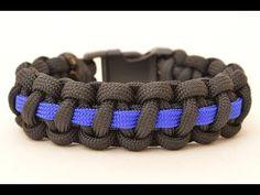 Make a Police Thin Blue Line Paracord Survival Bracelet - BoredParacord.com - YouTube