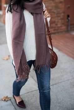 fall outfit idea: asos scarf, forever 21 sweater, old navy flats