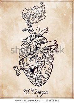 stock-vector-mechanical-metal-human-heart-el-corazon-steam-punk-style-hand-drawn-line-art-vintage-victorian-271277912.jpg (338×470)