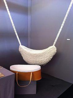 Crochet Hanging Crib So need someone to make me this:) Hanging Cradle, Hanging Crib, Crochet For Kids, Crochet Baby, Knit Crochet, Knitted Baby, Ana Kraft, Tatting, Deco Kids