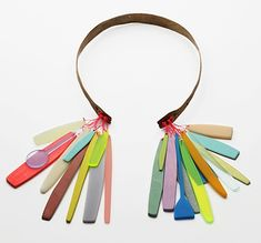 Lina Peterson. Necklace: Imagined Objects of Desire, 2010. Bronze, painted wood, acrylic, enamel on silver, thread.