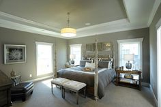 Sherwin Williams Keystone Gray Design, Pictures, Remodel, Decor and Ideas Traditional Bedroom, Traditional House, Custom Home Designs, Custom Homes, Grey Ceiling Paint, House Design Photos, Dream Bedroom, Master Bedroom, Quartos