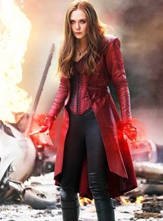 The fierceness of the Scarlet Witch (Elizabeth Olsen) is evident in this photo from Captain America: Civil War. This photo provides a good view of her official Avenger attire.