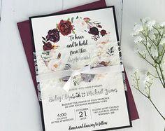 Lace Wedding Invitation Burgundy Pink Burgundy Wedding