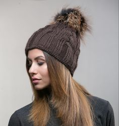 Wool Knitted Brown Raccoon Fur Beanie    #brown #wool #knitted #fur #pompom #hat #fur #hat #haute #style #accessories #fashion