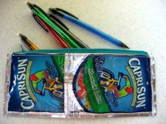 Repurposed Capri Sun to Pencil bag by Skip to My Lou