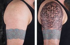 Building a Celtic Sleeve — LuckyFish, Inc. and Tattoo Santa Barbara Celtic Sleeve Tattoos, Armband Tattoos For Men, Knot Tattoo, Arm Band Tattoo, Old Tattoos, Tattoos For Guys, Blackwork, Henna, Shoulder Tats
