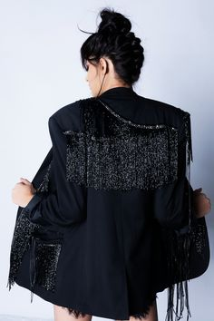 Loose fit, black crepe blazer embellished with black beaded tassels, chains and real leather details. Real Leather, Blues, Bell Sleeve Top, Ruffle Blouse, Detail, Shopping, Collection, Closet, Women