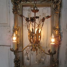 French chandelier antique rusty acanthus by AnitaSperoDesign, $325.00