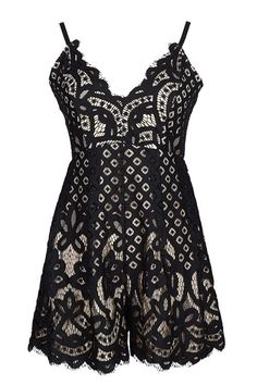 It pays to be in the right lace at the right time. You'll be the apple of everyone's eye when you spend your summer frolicking in this sweet playsuit. Black lace,V-shaped neckline, adjustable shoulder straps and finished with a hidden zipper.
