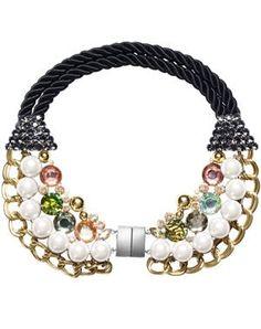 collier avec chaine, pierres et perles de h