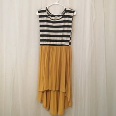 Charlotte Russe waterfall dress High-low dress with horizontal stripe design on top. Charlotte Russe Dresses High Low