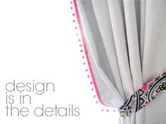 add pom-pom fringe and custom tiebacks to ready made drapery - designed by Erika Ward Interiors