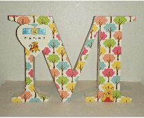 Decoupage letter M with heart name plaque