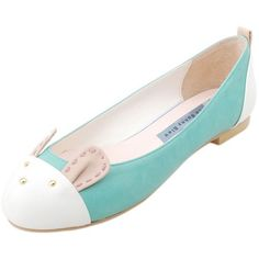 Mint Bunny Motive Ballet Flats ($49) ❤ liked on Polyvore