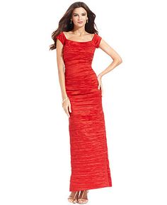 Alex Evenings Dress, Off the Shoulder Taffeta Crinkle Gown - Dresses - Women - Macy's