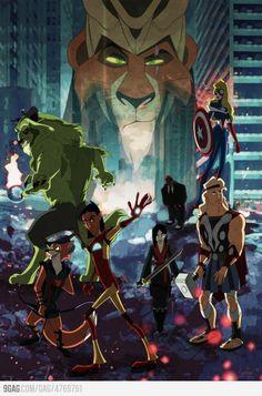 Disney Avengers fanart.... OMG HAWKEYE. My fave Avenger in my fave Disney character form.