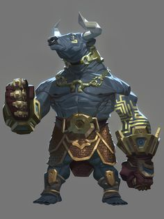 The Fourteen Gold Weapons - The Judge by Nesskain minotaur fighter barbarian gladiator player character npc anthropomorphic anthro monster beast creature animal | Create your own roleplaying game material w/ RPG Bard: www.rpgbard.com | Writing inspiration for Dungeons and Dragons DND D&D Pathfinder PFRPG Warhammer 40k Star Wars Shadowrun Call of Cthulhu Lord of the Rings LoTR + d20 fantasy science fiction scifi horror design | Not Trusty Sword art: click artwork for source