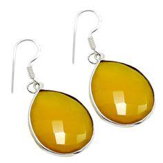 Silvestoo India Yellow Chalcedon y Gemstone 925 Sterling Silver Earring PG-100779  https://www.amazon.co.uk/dp/B06XXFB3YR