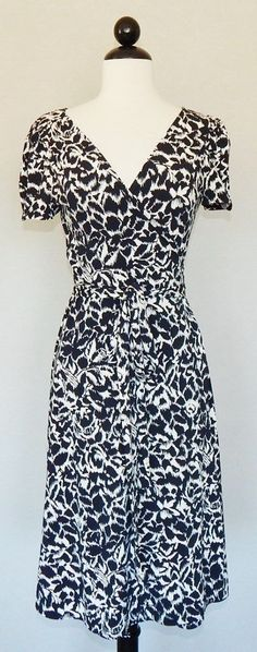BCBG MAX AZRIA Black & White Floral Abstract Print True Wrap Jersey Dress NWT S #BCBGMAXAZRIA #WrapDress #WeartoWork