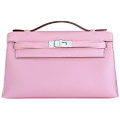 Pre-owned Hermes Rose Sakura Kelly Pochette Cut Clutch Bag Swift... (1.209.170 RUB) ❤ liked on Polyvore featuring bags, handbags, clutches, pink, hermes handbags, hermès, preowned handbags, hermes pochette и pink purse