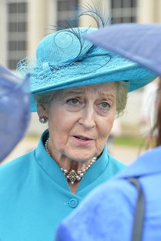 Britain's Princess Alexandra speaks to guests in the garden of Buckingham Palace in London as up to 8,000 guests attend the first royal garden party of the year on May 10, 2016.