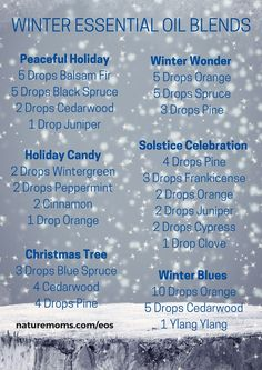 Winter is coming…what essential oils should you have on hand to celebrate the impending holidays and keep your spirits up during the dark, cold, days ahead? I have highlighted some useful blends below. Just add these recipes to your diffuser and enjoy!