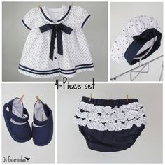 Baby Girl Outfit - Baby Girl sailor cotton dress with navy blue stars, baby diaper cover,  beret and baby booties - 4-piece set. €37.00, via Etsy.