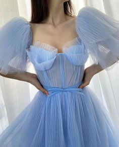 Baby Blue Pleated Gown   Teuta Matoshi Tulle Dress, Sequin Dress, Rose Gown, Flamingo Dress, Cherry Dress, Baby Blue Colour, Tulle Fabric, Prom Dresses, Formal Dresses