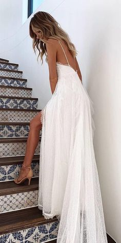 24 Amazing Destination Wedding Dresses For You ❤ destination wedding dresses with spaghetti straps low back for beach grace loves lace ❤ robe dresses dresses beach dresses boho dresses lace dresses princess dresses vintage Boho Wedding Dress With Sleeves, Wedding Dress Low Back, Spaghetti Strap Wedding Dress, Rustic Wedding Dresses, Long Sleeve Wedding, Wedding Bride, Spaghetti Straps, Destination Wedding Dresses, Casual Lace Wedding Dress