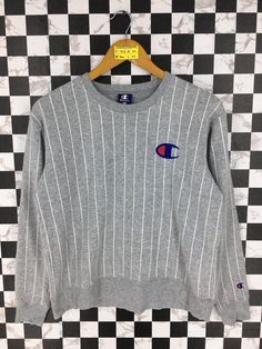 e8d5be16f CHAMPION Stripes Jumper Women Small Vintage 90's Champion Sportswear Crewneck  Champion Athletic Sweatshirt Gray Pullover Sweater Size S
