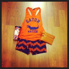 Our personal favorite, this Gator Nation tank paired with orange and blue chevron shorts! #gameday #uf #gators