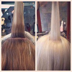 Color by Jessica Reinert. Platinum blonde thanks to olaplex. I wonder if anyone around here is using Olaplex yet...I can finally go really blonde!