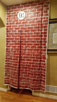 DIY Harry Potter Party Decor: Platform 9 made out of Dollar Store plastic tablecloths! DIY Harry Potter Party Decor: Platform 9 made out of Dollar Store plastic tablecloths! Baby Harry Potter, Deco Noel Harry Potter, Magie Harry Potter, Harry Potter Motto Party, Harry Potter Fiesta, Harry Potter Thema, Harry Potter Halloween Party, Harry Potter Classroom, Theme Harry Potter