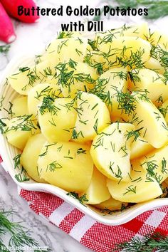 This classic Buttered Golden Potatoes with Dill is one of those for us. Filling potato chunks coated with savory butter, sprinkled with fresh garden-grown dill to make such a simple yet tasty and comforting dish. #butteredgoldenpotatoes #goldenpotatoeswithdill #thanksgivingrecipe #valyastasteofhome | www.valyastasteofhome.com Chef Recipes, Sweets Recipes, Good Food, Yummy Food, Fresh Dill, Thanksgiving Recipes, Christmas Recipes, Tasty Dishes, Side Dishes