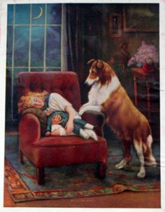 Lovely Collie with a sleeping young lady.  Vintage.