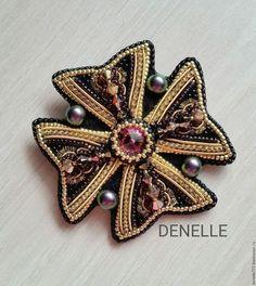 "Брошь ""АМЕТИСТОВЫЙ мальтийский крест"" | Bead Embroidered Brooches"