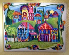 Painting of whimsical little cottages full of by Artbyjpennington