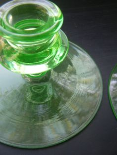 Vintage Uranium Depression Glass Pale Green Pair of Candlestick Holders, Vaseline Glass by KitschyCollectibles, $22.00