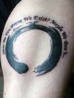 I really like how the feel of a brushstroke was captured in this enso tattoo. I've been thinking of getting a similar design on my back (without the text), but probably in a more gentle dark brown-red/ sienna tone. #zen