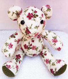 Fabric Bear Doll  Hand Sawn Teddy Bear Baby Toy Quilted by ThePaw, $75.85