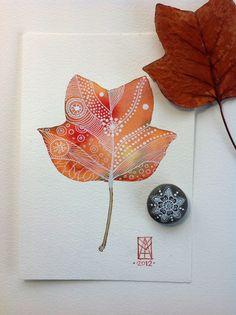 Autumn Leaf Archival Art Print. $15.00, via Etsy.